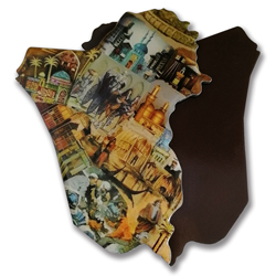 Offset printed country map fridge magnet