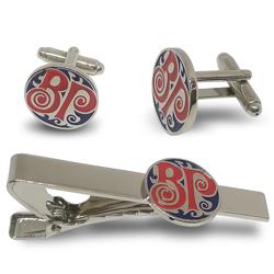 Company logo mens cufflinks tie clip set