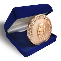 vintage metal coin, Rosalind Franklin