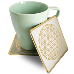 Flower of life square cup coaster