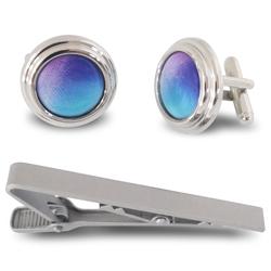 Custom prints logo cufflinks tie clip set