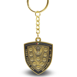 Antique gold shield enamel keychain